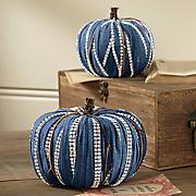 Set of 2 Sequined Blue Pumpkins