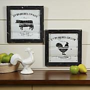 set of 2 vintage farm animal plaques