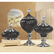 Black Glass Lidded Bowls