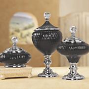 Black Glass Lidded Bowls