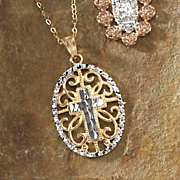 cross oval two tone pendant