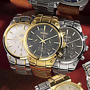Men's Round Solar Chrono Bracelet Watch by Seiko