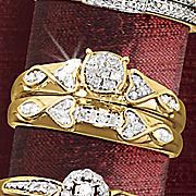 round cluster heart side bridal set