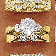 round double stone bridal set