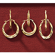 3 pair decorative hoop earring set