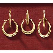 3 pair decorative hoop earring set