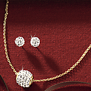 crystal accent necklace and earring set