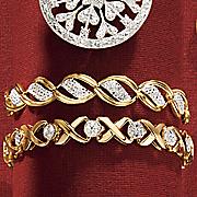two tone wave link bracelet
