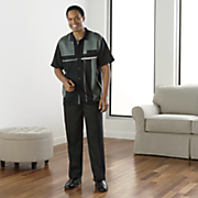 black   slate pant set by steve harvey