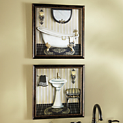 set of 2 jeweled bathroom art