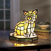 stained glass cat lamp 114