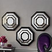 set of 3 octagonal wall mirrors