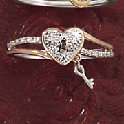 10k diamond heart and key gold ring