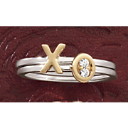 10k diamond xo 2 piece ring