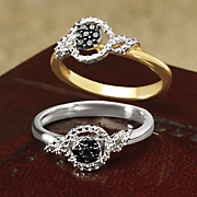 10k black diamond round cluster ring