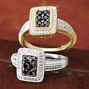 10k black diamond rectangular cluster ring