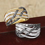 10k black diamond ribbon band ring