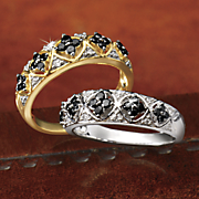 10k black diamond cluster band ring