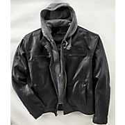 hooded faux leather jacket 104
