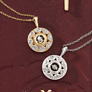 10k diamond round motion pendant
