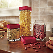 Set of 3 Stackable Square Glass Canisters