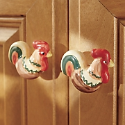 set of 4 rooster knobs