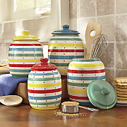 Set of 4 Multicolor Striped Canisters