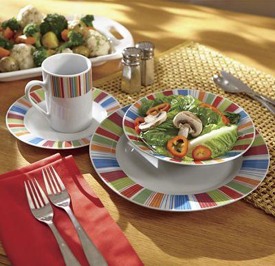 16-Piece Veranda Stripes Dinnerware Set