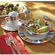 16-Piece Veranda Stripes Dinnerware Set
