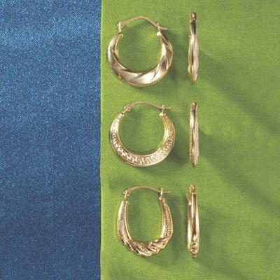 Mini 3-Pair Hoop Earrings Set