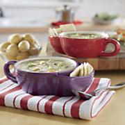set of 2 soup cracker bowls