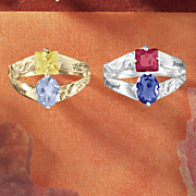 birthstone name couple s oval square ring