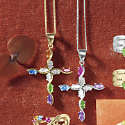 birthstone marquise cross pendant