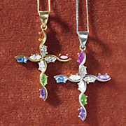 birthstone marquise cross pendant