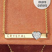 name heart bar pendant