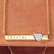 name heart bar pendant