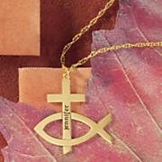 name cross ichthus pendant