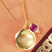 name birthstone double charm pendant