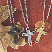 name stainless steel cross pendant