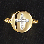diamond cross circle ring