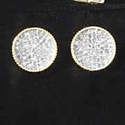 diamond cluster round post earrings