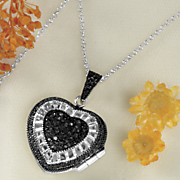 black diamond puff heart locket pendant