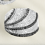 black and white diamond wide arc band