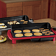oversized electric griddle with splash guard by elite