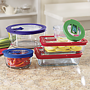 10 pc  glass storage and microwave set by pyrex