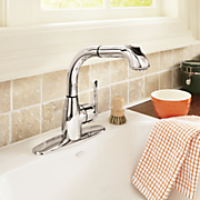 chrome pull out kitchen faucet