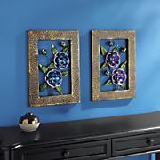 set of 2 dimensional cutout floral art