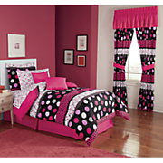 Dot Border Complete Bed Set, Decorative Pillow and Window Treatments