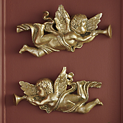 set of 2 bronze angel wall plaques