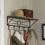 rustic shelf with double hooks